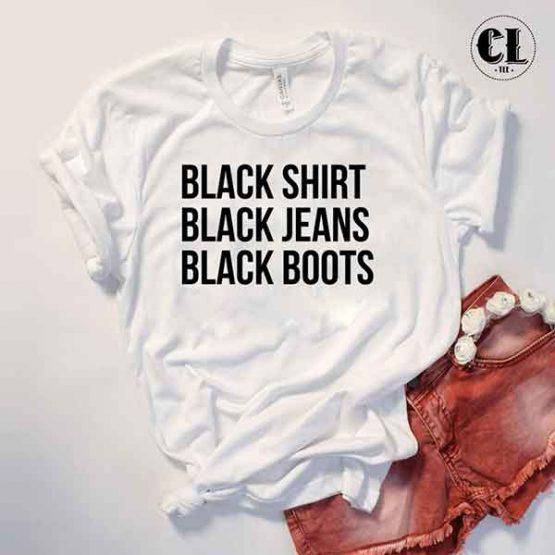 T-Shirt Black Shirt Jeans Boots