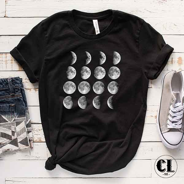 T-Shirt Moon Cycle Moon Phases