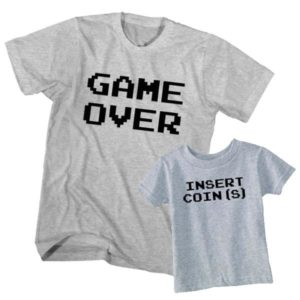 Dad and Son T-Shirt Game Over Insert Coin
