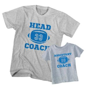 Dad and Son T-Shirt Head Coach Assistant Coach