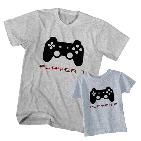 Dad and Son T-Shirt Gamer Player 1 Player 2