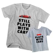 Dad and Son T-Shirt Still Plays With Cars