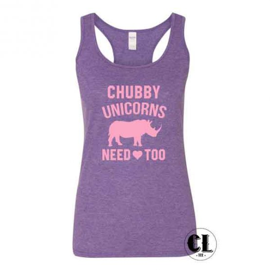 Chubby Unicorns Need Love Too Tank Top Racer back