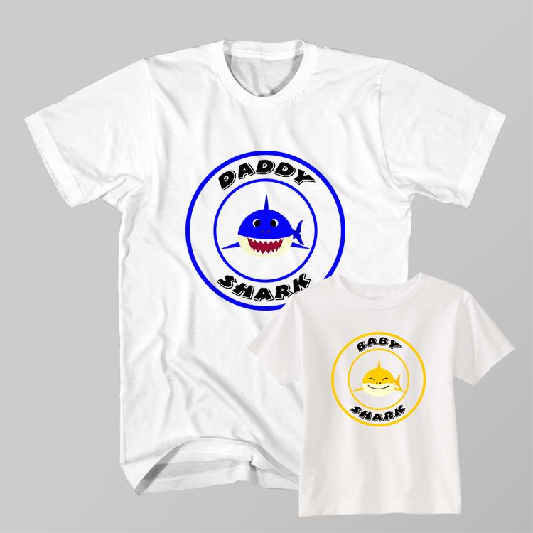 8544daf6b Father and Son Clothing T-Shirt Daddy Shark Baby Shark Doo Doo Do ...