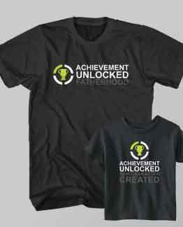 Dad and Son Matching T-Shirt Fatherhood Unlocked New Kid Character Created