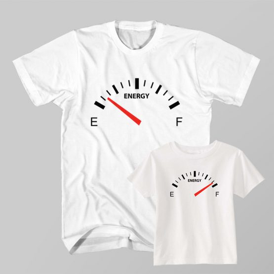 Dad and Son Matching T-Shirt Fuel Gauge Empty Gas Tank Full