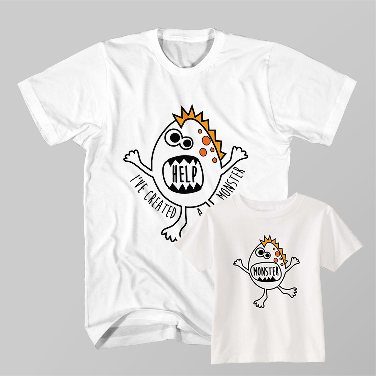 d8a70e566 Father and Son Clothing T-Shirt Help I've Created Monster ~ Clotee ...