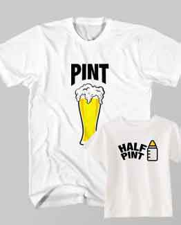 Dad and Son Matching T-Shirt Pint Beer Half Milk