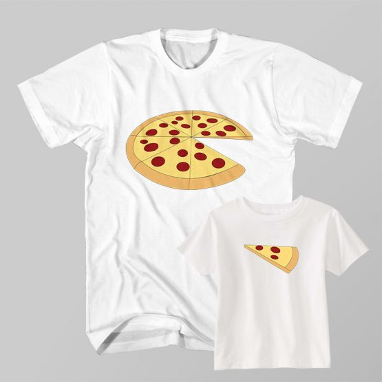 Dad and Son Matching T-Shirt Dad Whole Pizza Son Slice