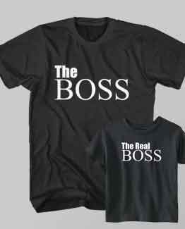 Father and Son Clothing T-Shirt The Boss Dad The Real Boss Kid