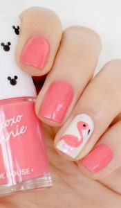 Fluorescent Flamingo Nail Ideas