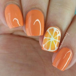 Orange Nail Design Idea