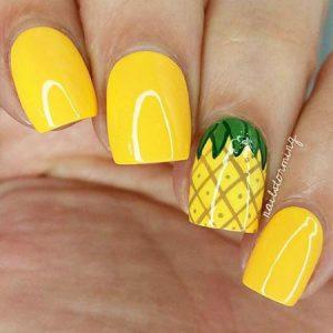 Pineapple Nail Design Idea