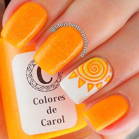 Orange Sunset Nail