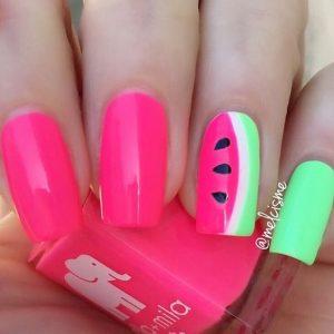 Watermelon Nail Design Idea