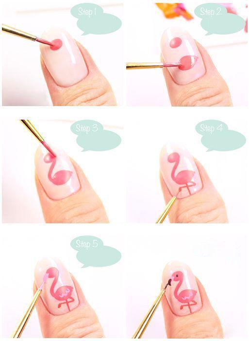 DIY Pink Flamingo Summer Holiday Nail Idea