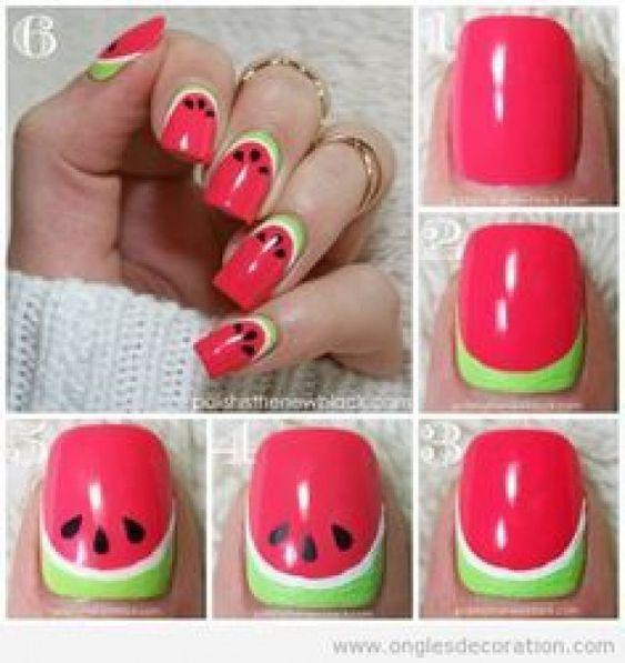DIY Watermelon Tropical Summer Nail
