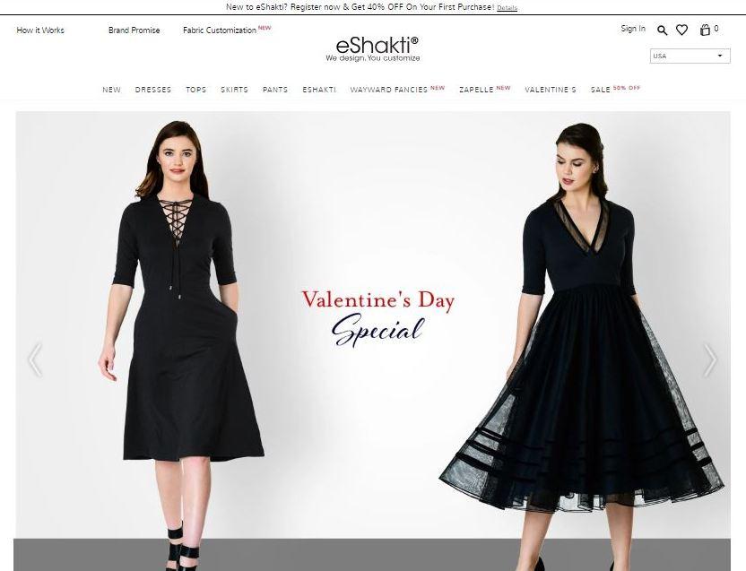 eshakti plus size clothes online website screen capture
