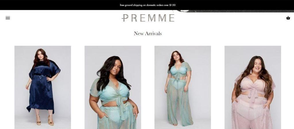 premme plus size clothes online website screen capture