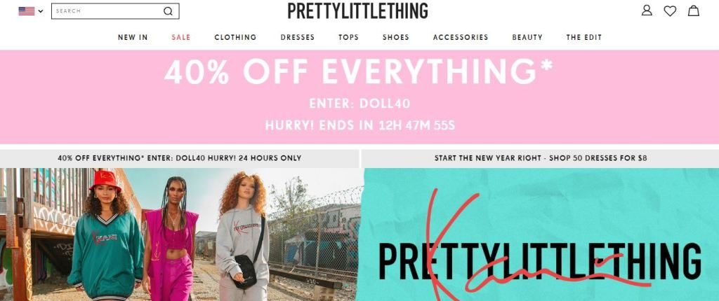 prettylittlething plus size clothes online website screen capture