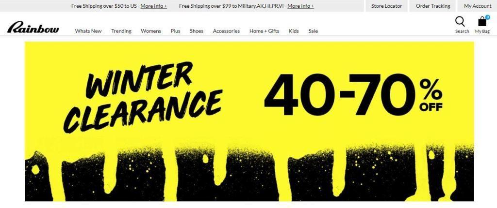 rainbow shops plus size clothes online website screen capture
