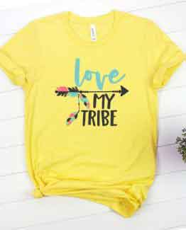 T-Shirt Mom Life Love My Tribe Yellow
