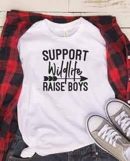 T-Shirt Support Wildlife Raise Boys Mom Life