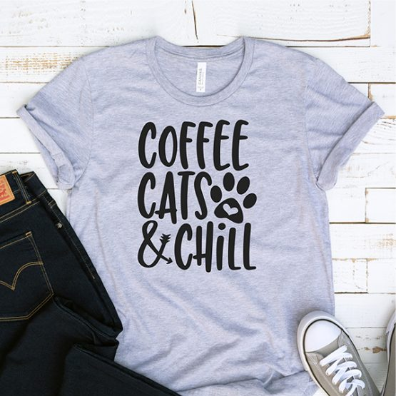 T-Shirt Coffee Cats And Chill Pet Lover