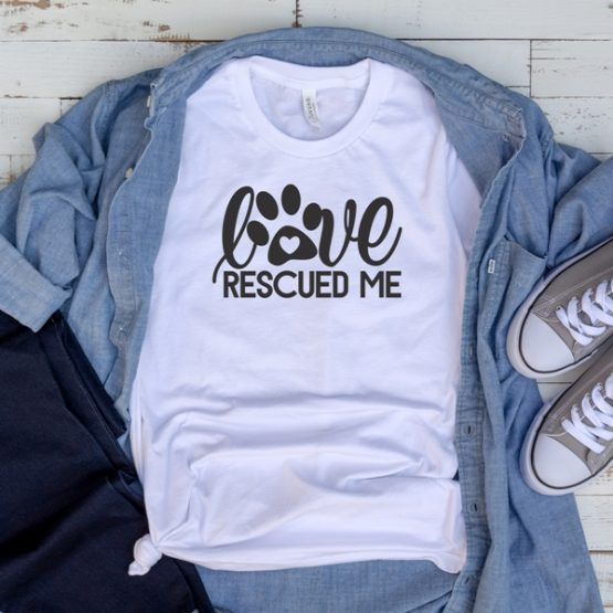 T-Shirt Love Rescued Me Pawprint Pet Lover