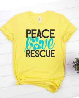 T-Shirt Peace Love Rescue Pet Lover