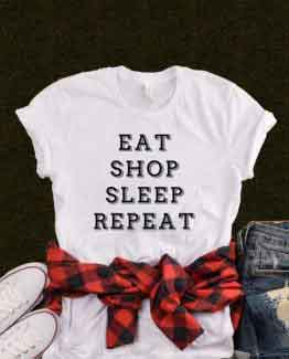 T-Shirt Eat Shop Sleep Repeat by Clotee.com Tumblr Aesthetic Clothing
