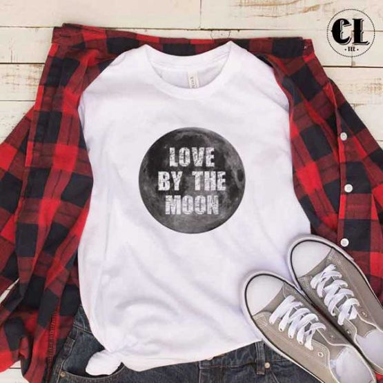T-Shirt Love By The Moon men women round neck tee. Printed and delivered from USA or UK