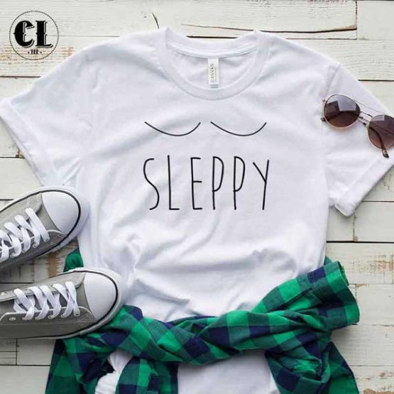 T-Shirt Sleepy men women round neck tee. Printed and delivered from USA or UK