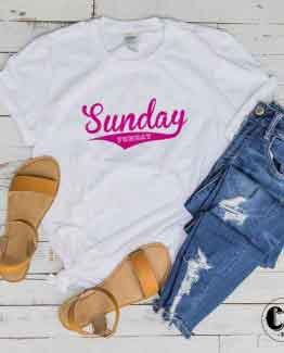 T-Shirt Sunday Funday men women round neck tee. Printed and delivered from USA or UK