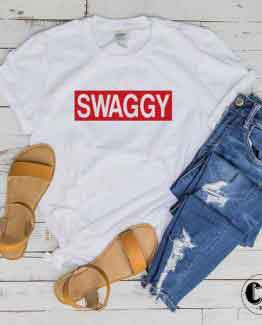 T-Shirt Swaggy men women round neck tee. Printed and delivered from USA or UK