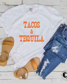 T-Shirt Tacos & Tequila men women round neck tee. Printed and delivered from USA or UK