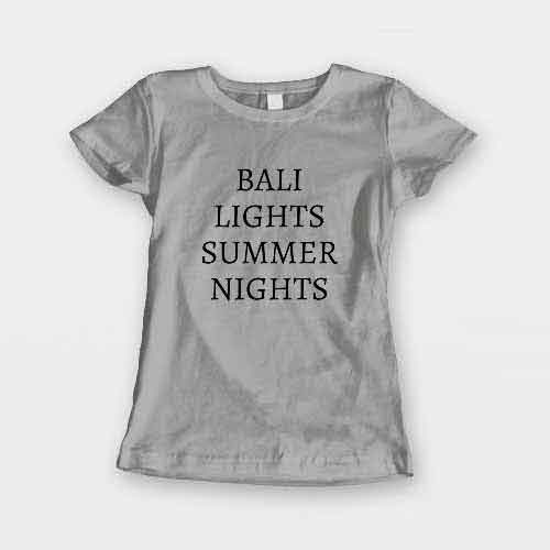 T-Shirt Bali Lights Summer Nights men women round neck tee. Printed and delivered from USA or UK.