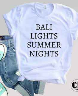 T-Shirt Bali Lights Summer Nights men women round neck tee. Printed and delivered from USA or UK