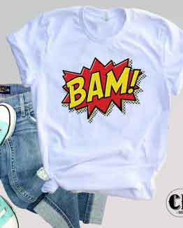T-Shirt BAM men women round neck tee. Printed and delivered from USA or UK