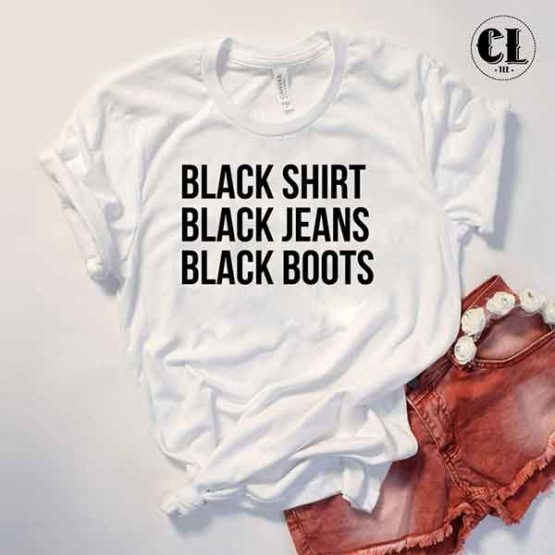 T-Shirt Black Shirt Jeans Boots by Clotee.com Tumblr Aesthetic Clothing