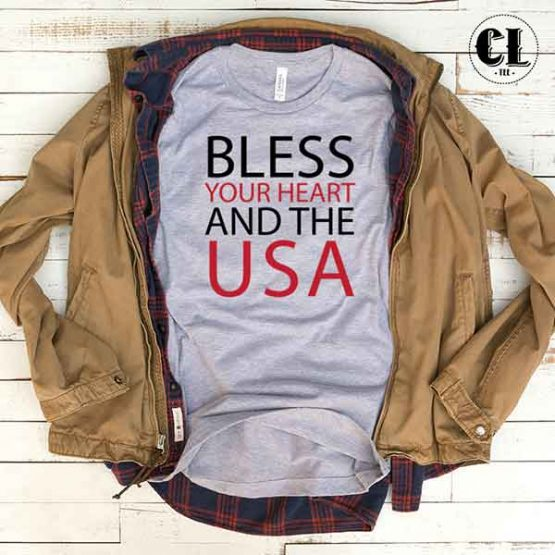 T-Shirt Bless Your Heart And The USA men women round neck tee. Printed and delivered from USA or UK