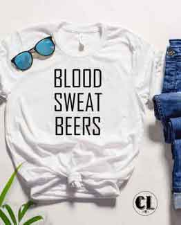 T-Shirt Blood Sweat Beers by Clotee.com Tumblr Aesthetic Clothing