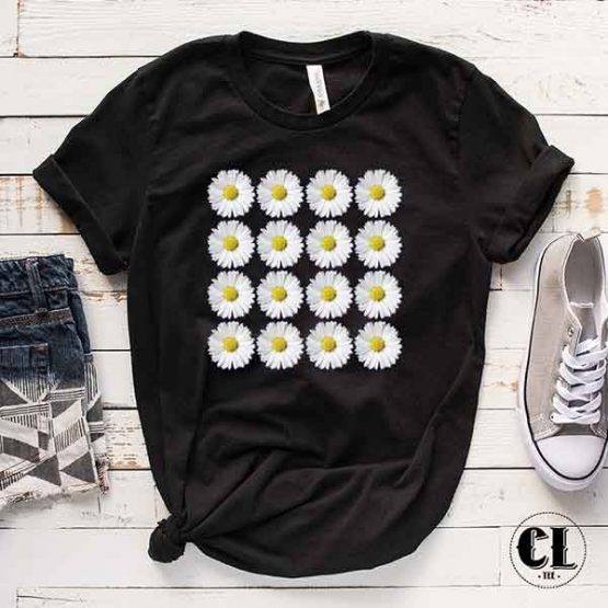 T-Shirt Daisy Flowers men women round neck tee. Printed and delivered from USA or UK