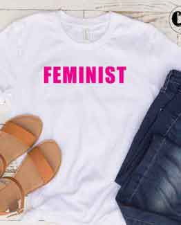 T-Shirt Feminist men women round neck tee. Printed and delivered from USA or UK
