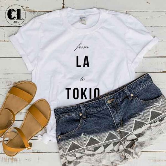 T-Shirt From LA To Tokio by Clotee.com Tumblr Aesthetic Clothing