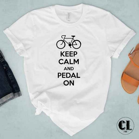 T-Shirt Keep Calm And Pedal On men women round neck tee. Printed and delivered from USA or UK