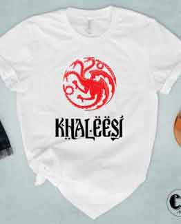 T-Shirt Khaleesi men women round neck tee. Printed and delivered from USA or UK