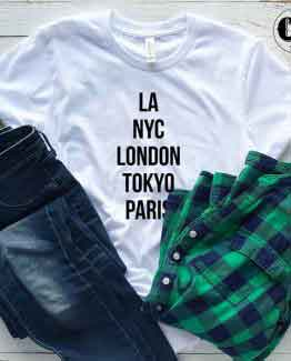 T-Shirt LA NYC London Tokyo Paris men women round neck tee. Printed and delivered from USA or UK