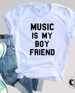 T-Shirt Music Is My Boy Friend by Clotee.com Tumblr Aesthetic Clothing