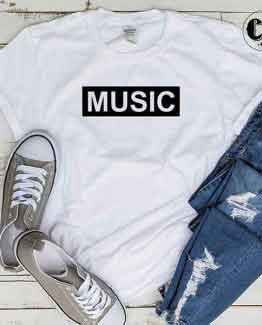 T-Shirt Music men women round neck tee. Printed and delivered from USA or UK